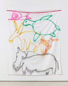 Stacked Animals, 2016 Fabric spray paint on bed sheet 104h x 81w in Courtesy Alexander Gray Associates, New York